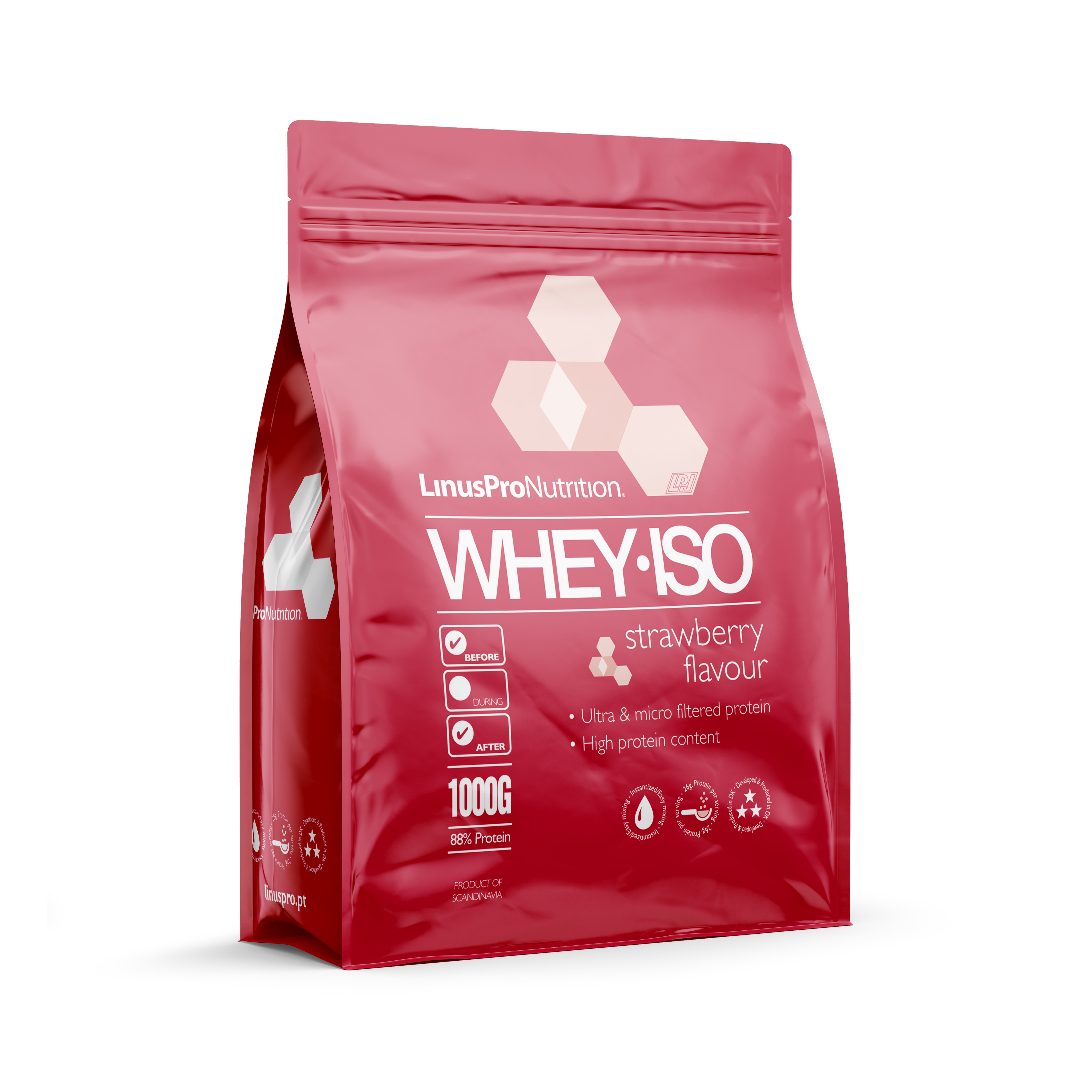 Image of   LinusPro WHEY ISO Proteinpulver (Jordbær, 1000 g)