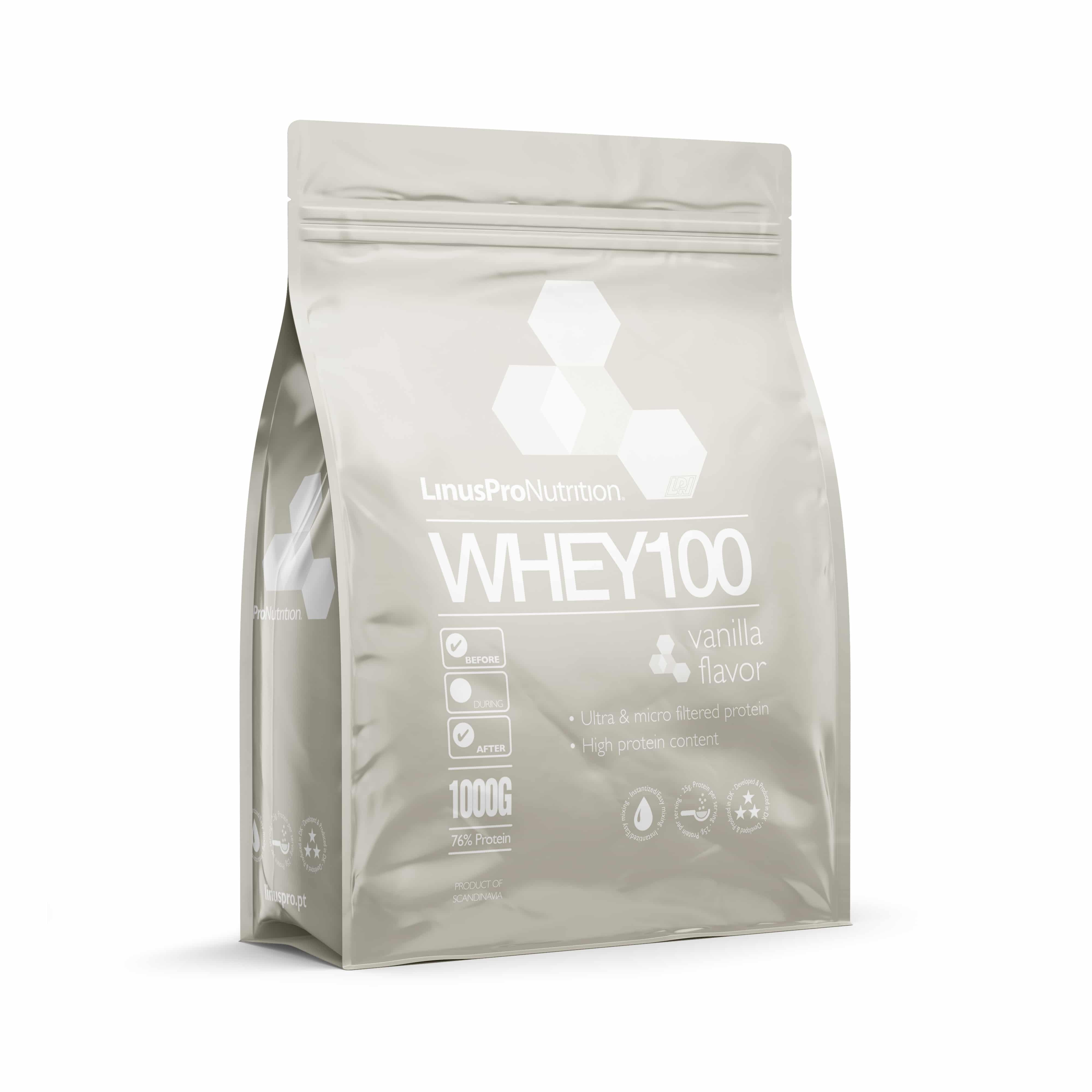 Image of   LinusPro WHEY100 Proteinpulver (Vanilje, 1000 g)