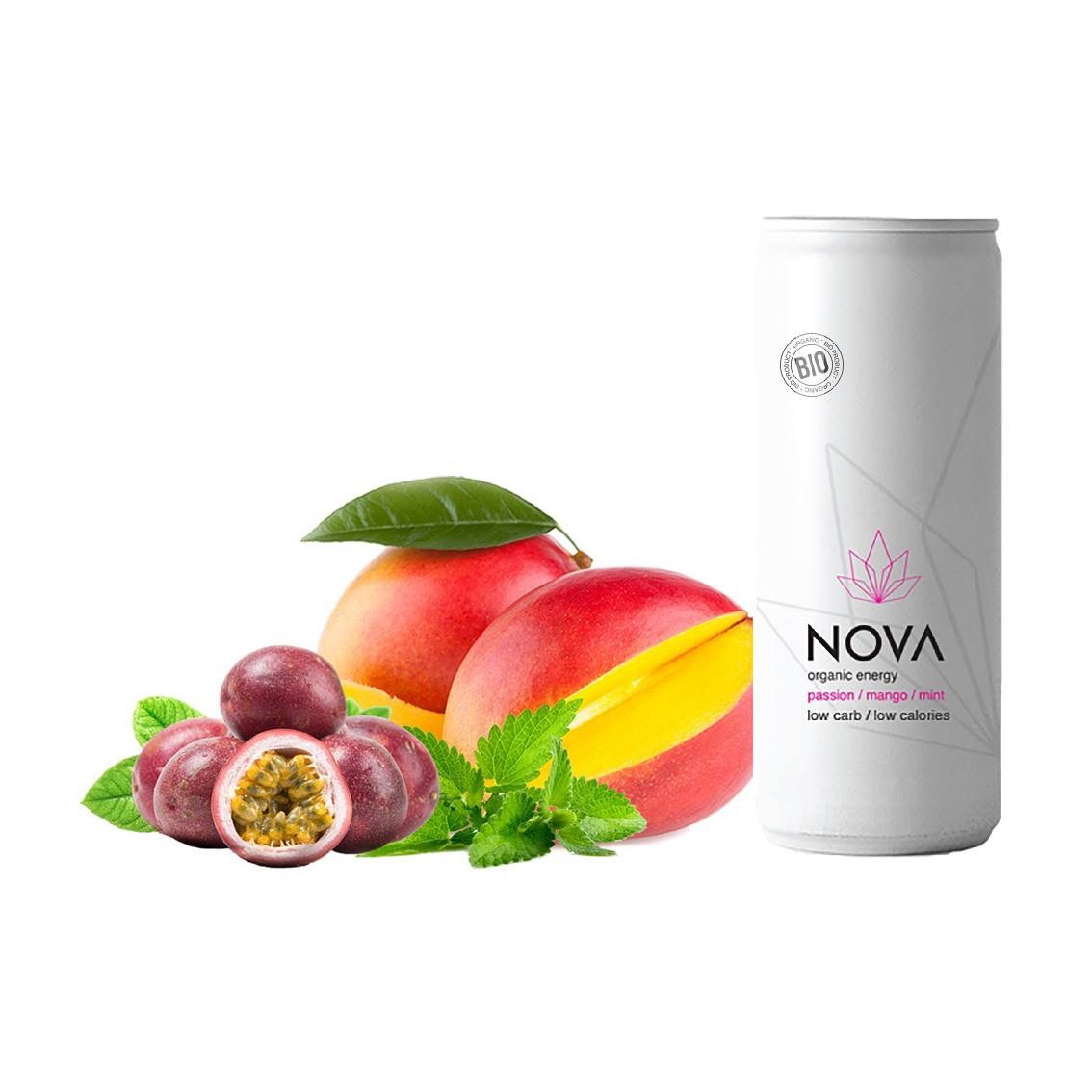 Image of   NOVA Organic Energy 24 stk. (Passion/Mango/Mint, 25 cl.)