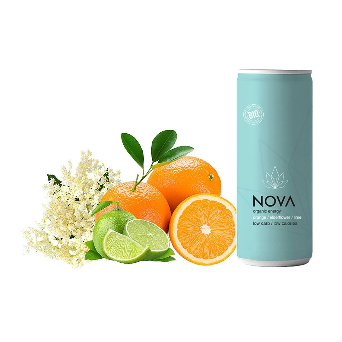 Image of   NOVA Organic Energy 24 stk. (Orange/Lime/Elderflower, 25 cl.)