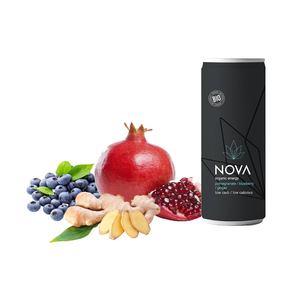 Image of   NOVA Organic Energy 24 stk. (Pomegranate/Blueberry/Ginger, 25 cl.)