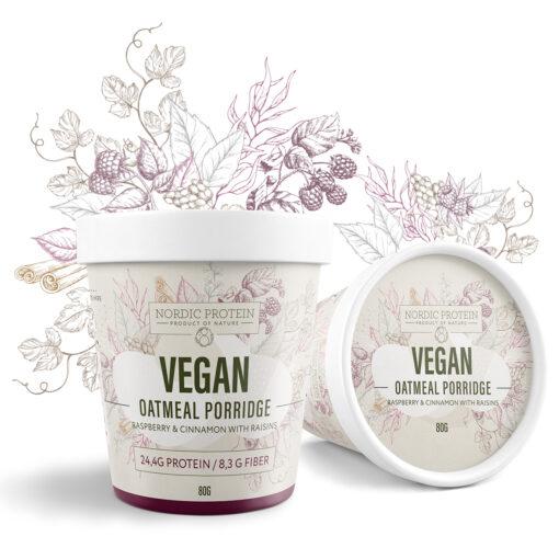Nordic Protein Vegan Protein Oatmeal (Hindbær, Kanel og Rosin 80 g)