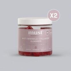 MUST Essentials® Anti-wrinkle Collagen Gummies (2 bøtter = 120 vingummier)
